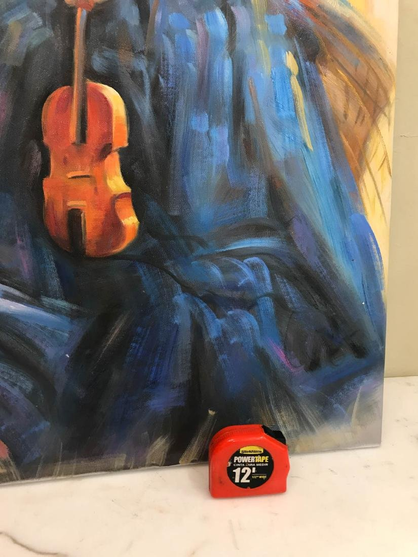 Oil on Canvas of Woman in Blue Dress w/ Violin - 6