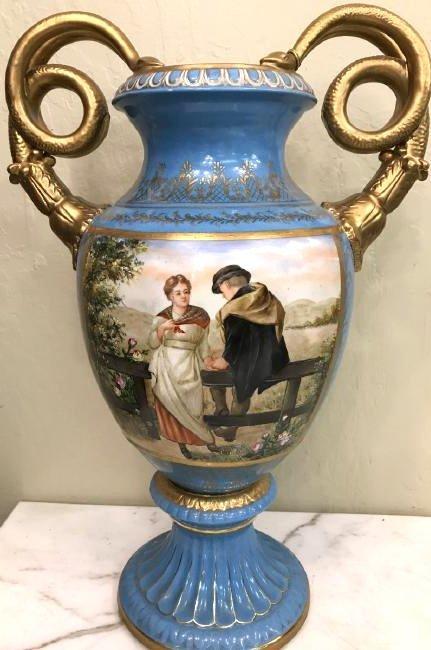 Handpainted Porcelain Vase w/ Scenery, Snake Handles