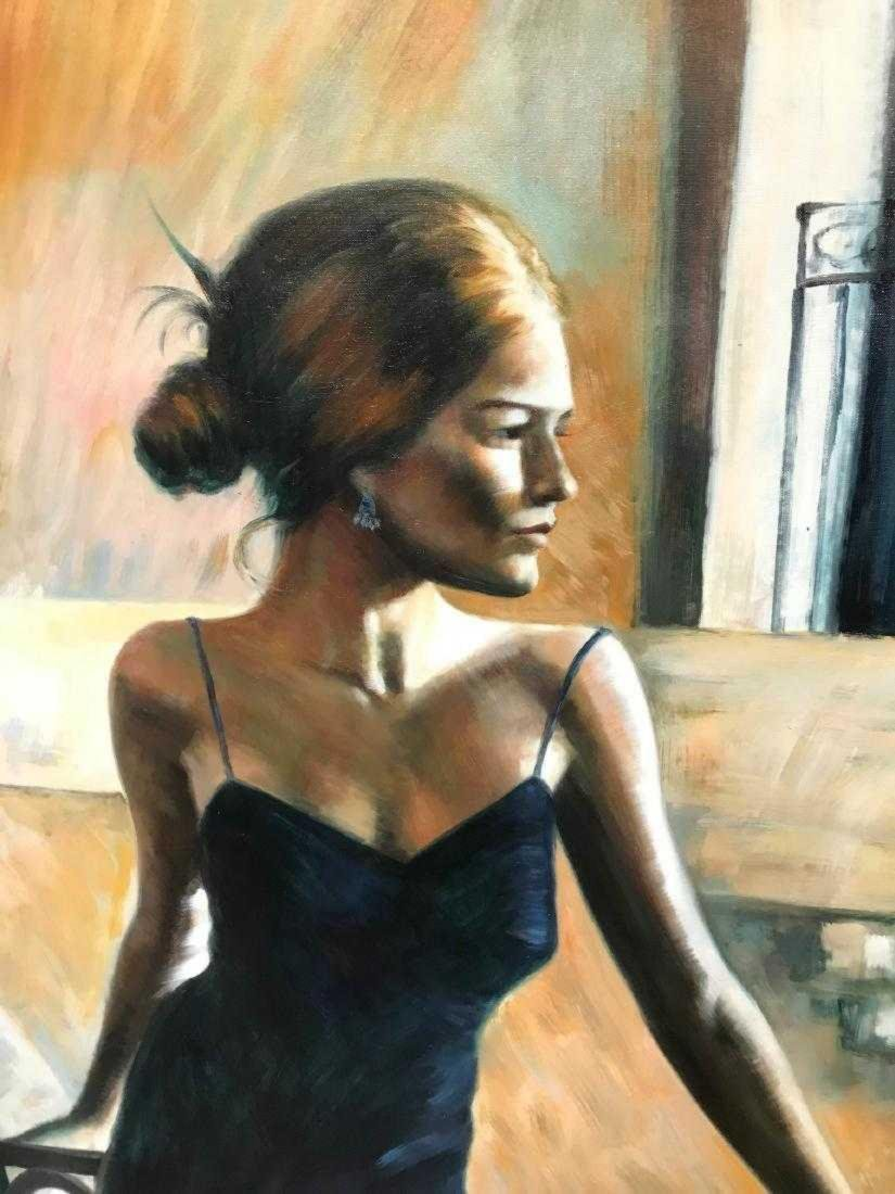 Oil on Canvas Woman in Blue Dress - 2