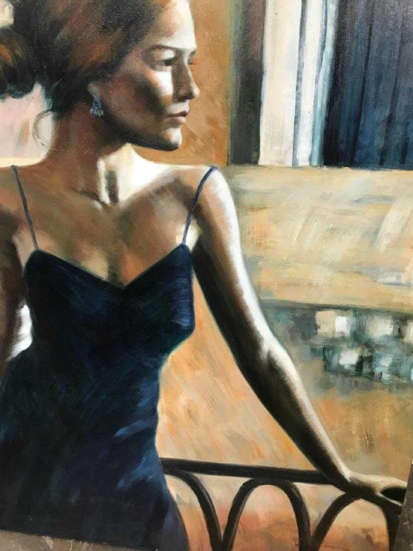 Oil on Canvas Woman in Blue Dress - 3