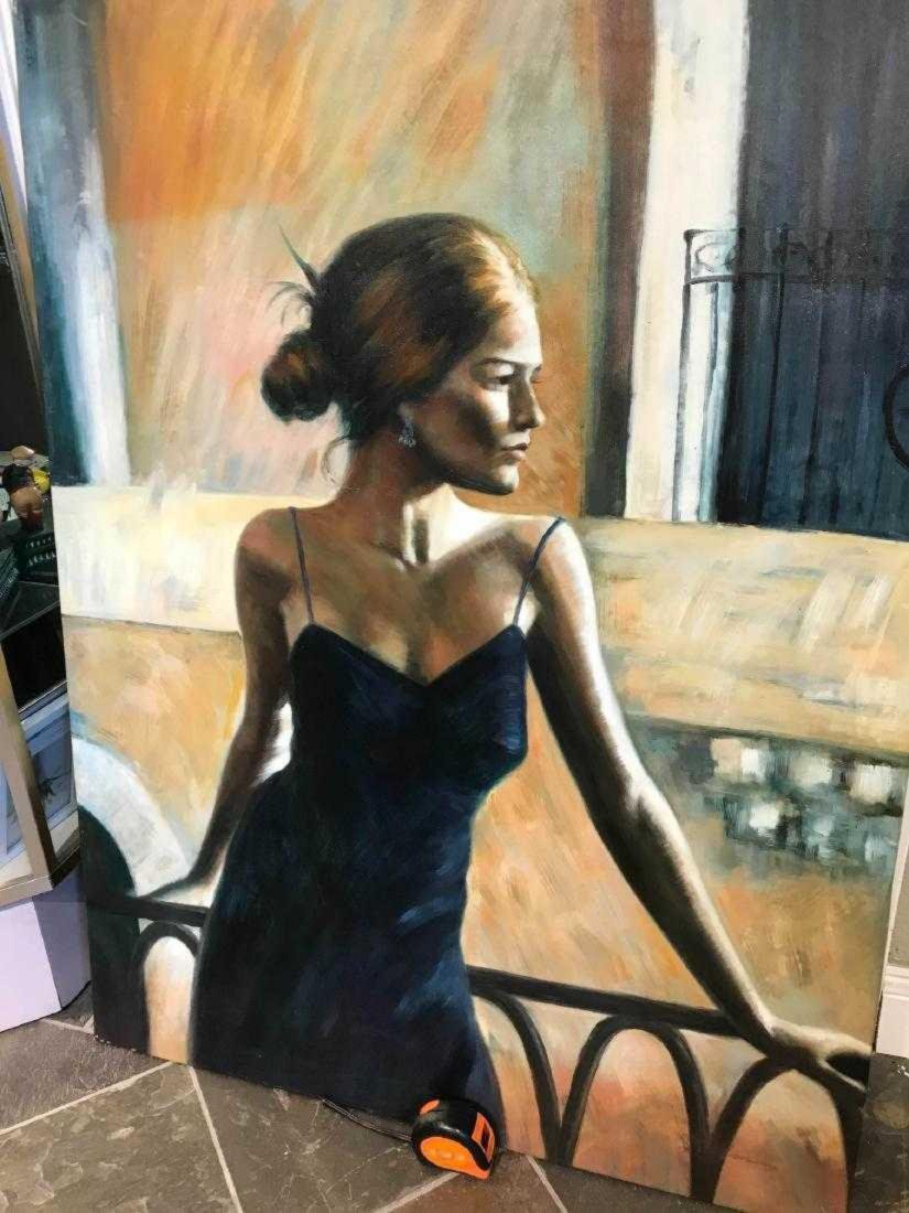 Oil on Canvas Woman in Blue Dress - 6