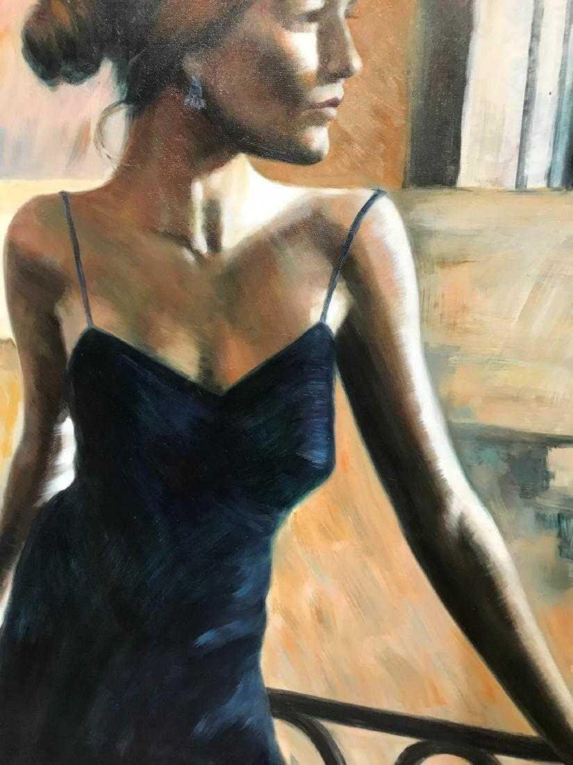 Oil on Canvas Woman in Blue Dress - 7