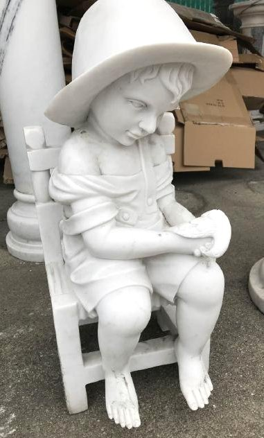 Small Marble Statue of Boy in Chair w/ Bird