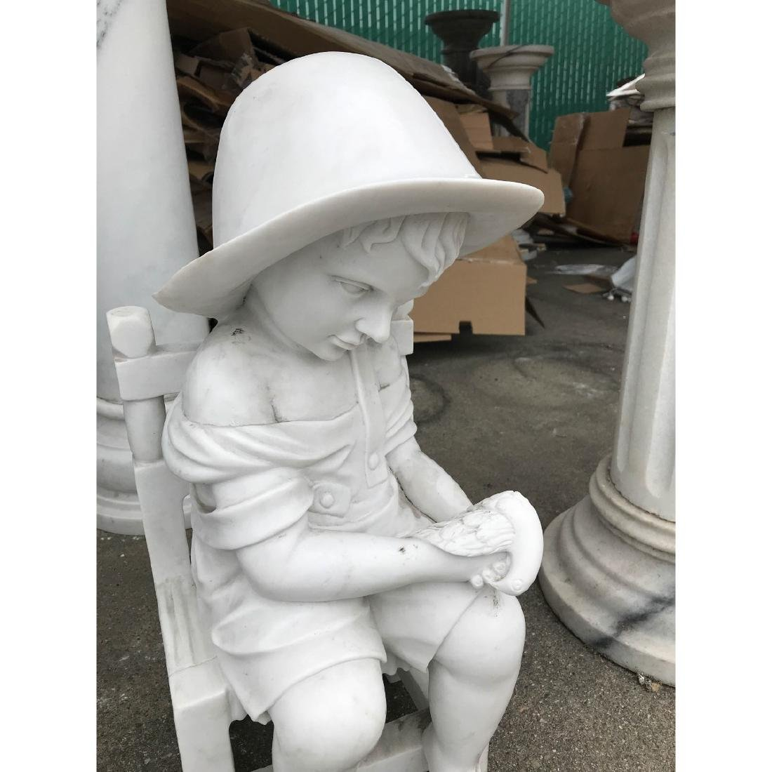 Small Marble Statue of Boy in Chair w/ Bird - 2