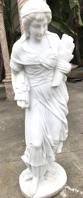 White Marble Statue of Woman Carrying Wheat
