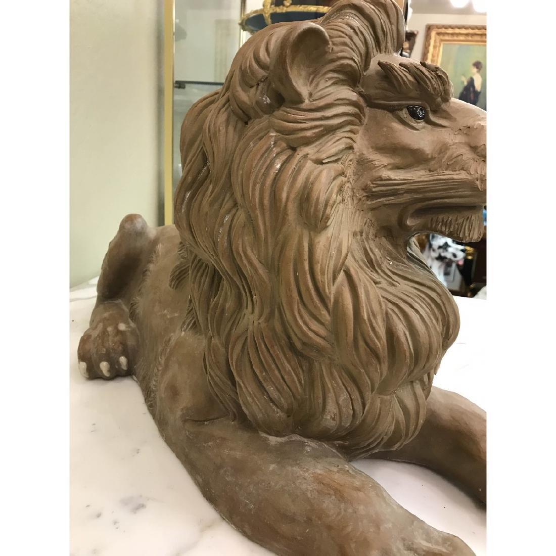 Unique Pair of Clay Lions - 10