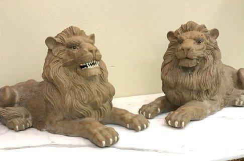 Unique Pair of Clay Lions