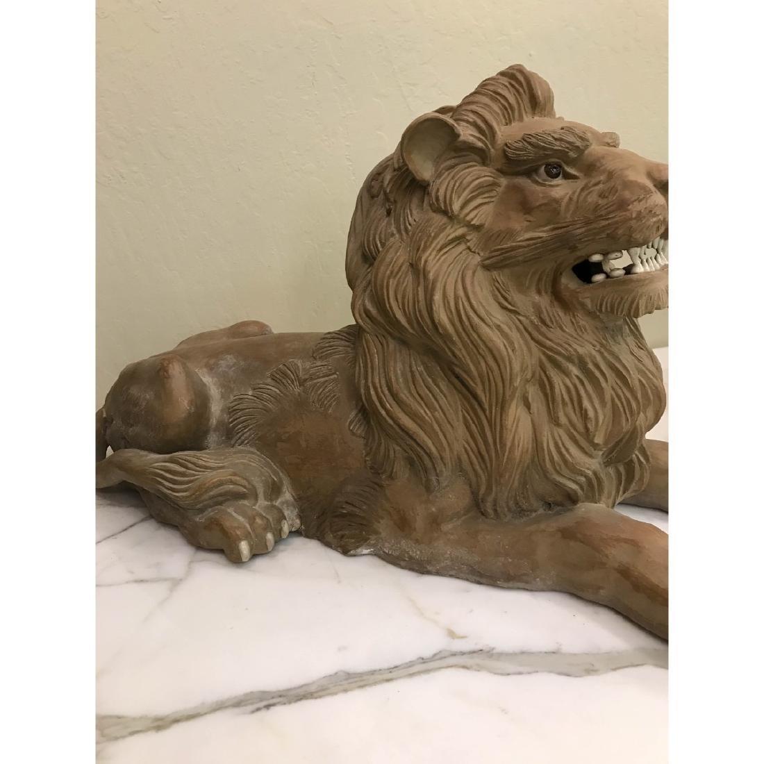 Unique Pair of Clay Lions - 2