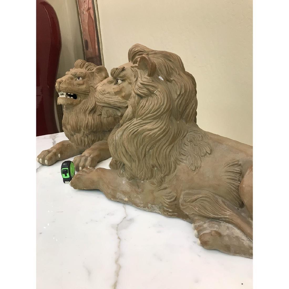 Unique Pair of Clay Lions - 4