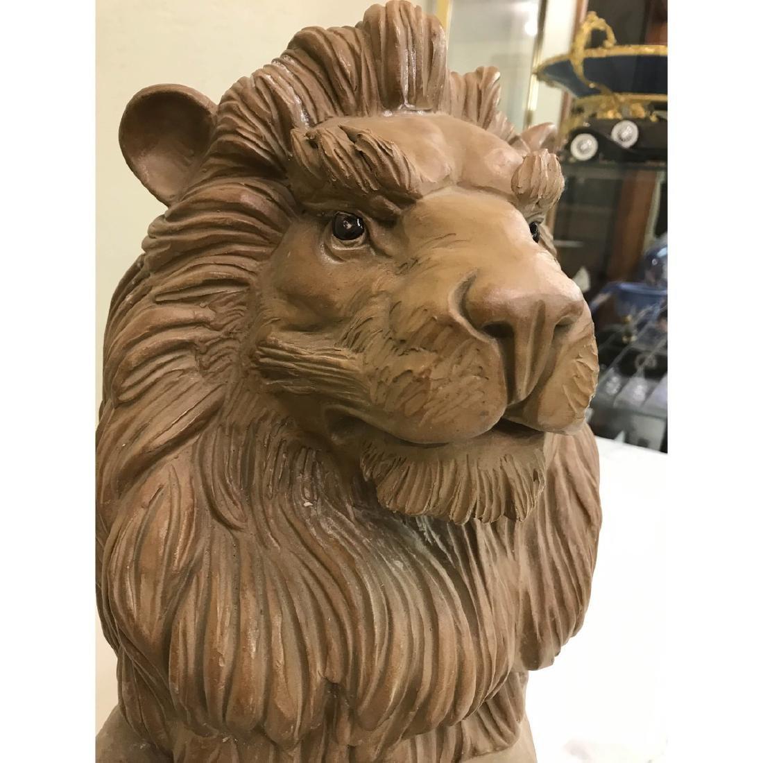 Unique Pair of Clay Lions - 7