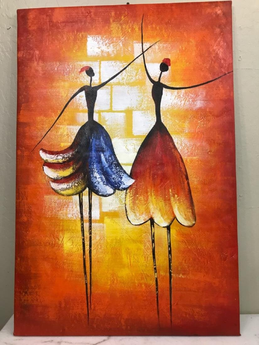 Oil on Canvas of Two Ballerinas Dancing