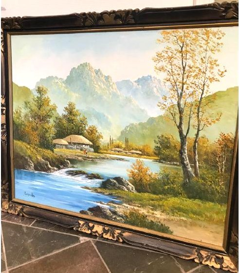 Oil on Canvas of River, Mountain, Village Scene