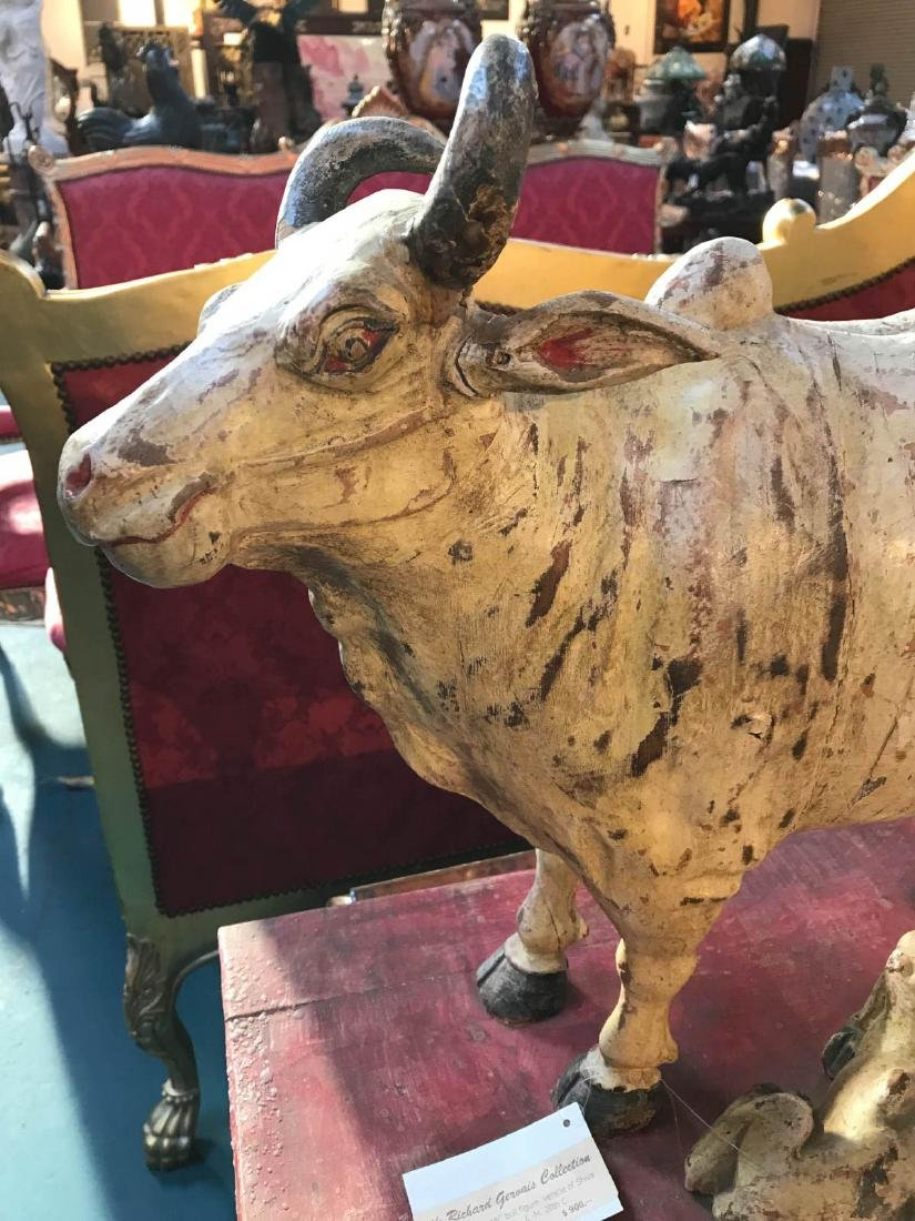 Teak Wood Nandi Cow with Calf Statue - 2