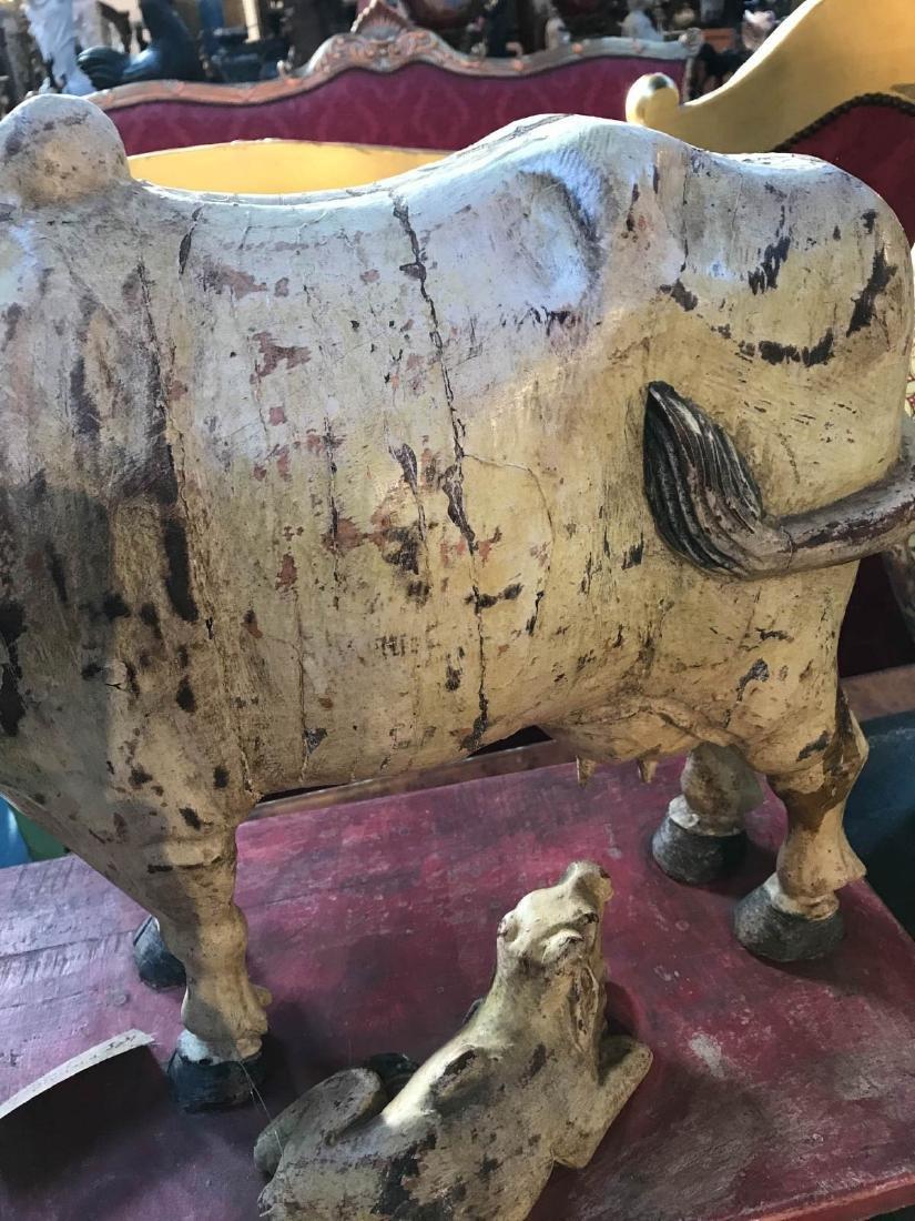 Teak Wood Nandi Cow with Calf Statue - 7