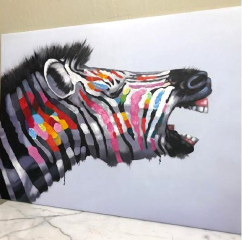 Abstract Oil on Canvas - Colorful Zebra