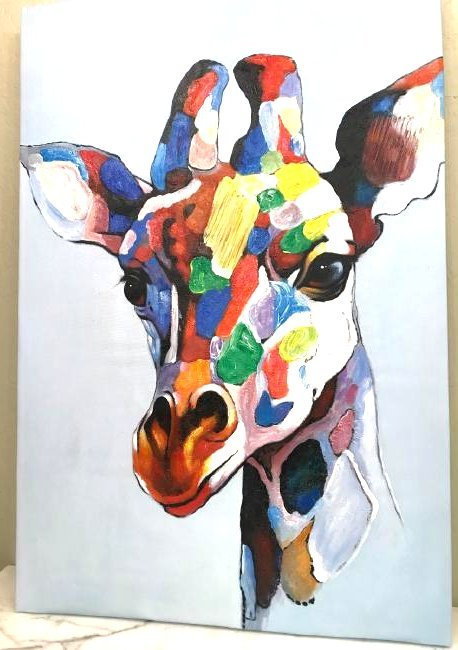 Abstract Oil on Canvas of a Giraffe