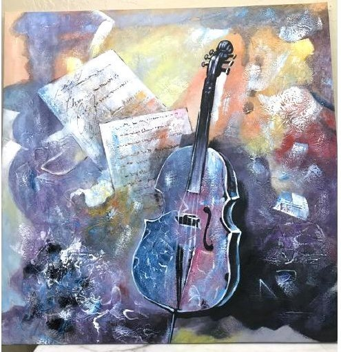 Abstract Oil on Canvas of Violin