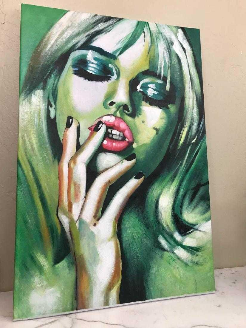 Abstract Oil on Canvas of Blonde Woman - 3