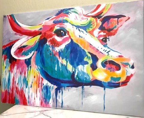Abstract Oil on Canvas of a Cow