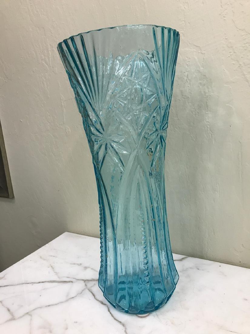 Art Deco Tall Turquoise Glass Vase - 9