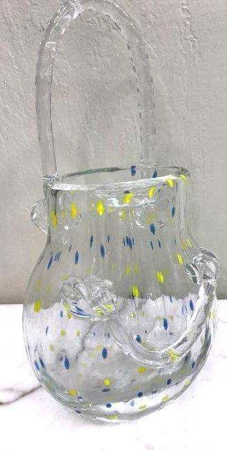 Hand-Blown Glass Purse-Shaped Vase
