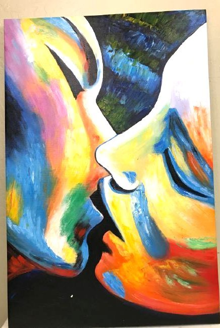 Oil on Canvas of Kissing Couple