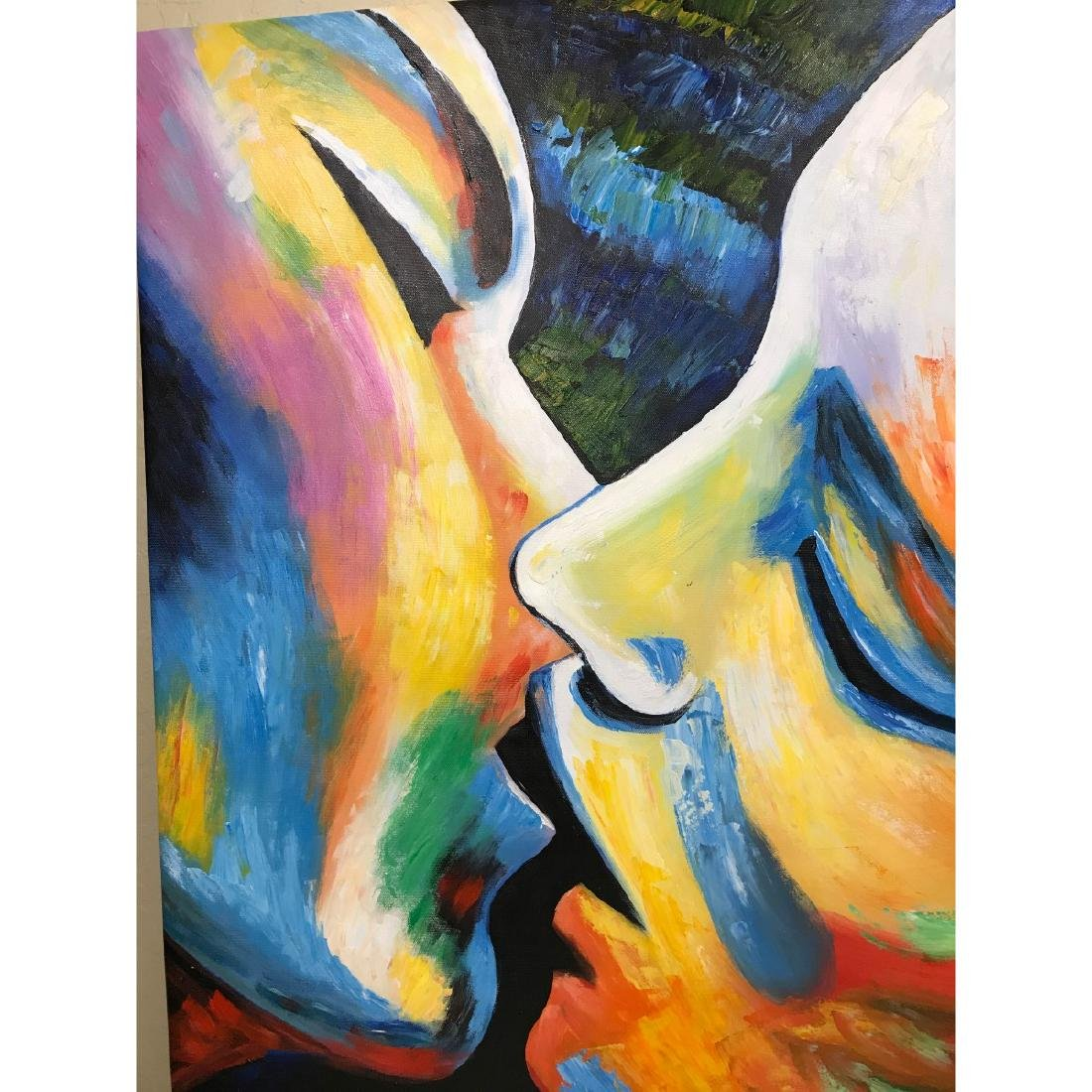Oil on Canvas of Kissing Couple - 2