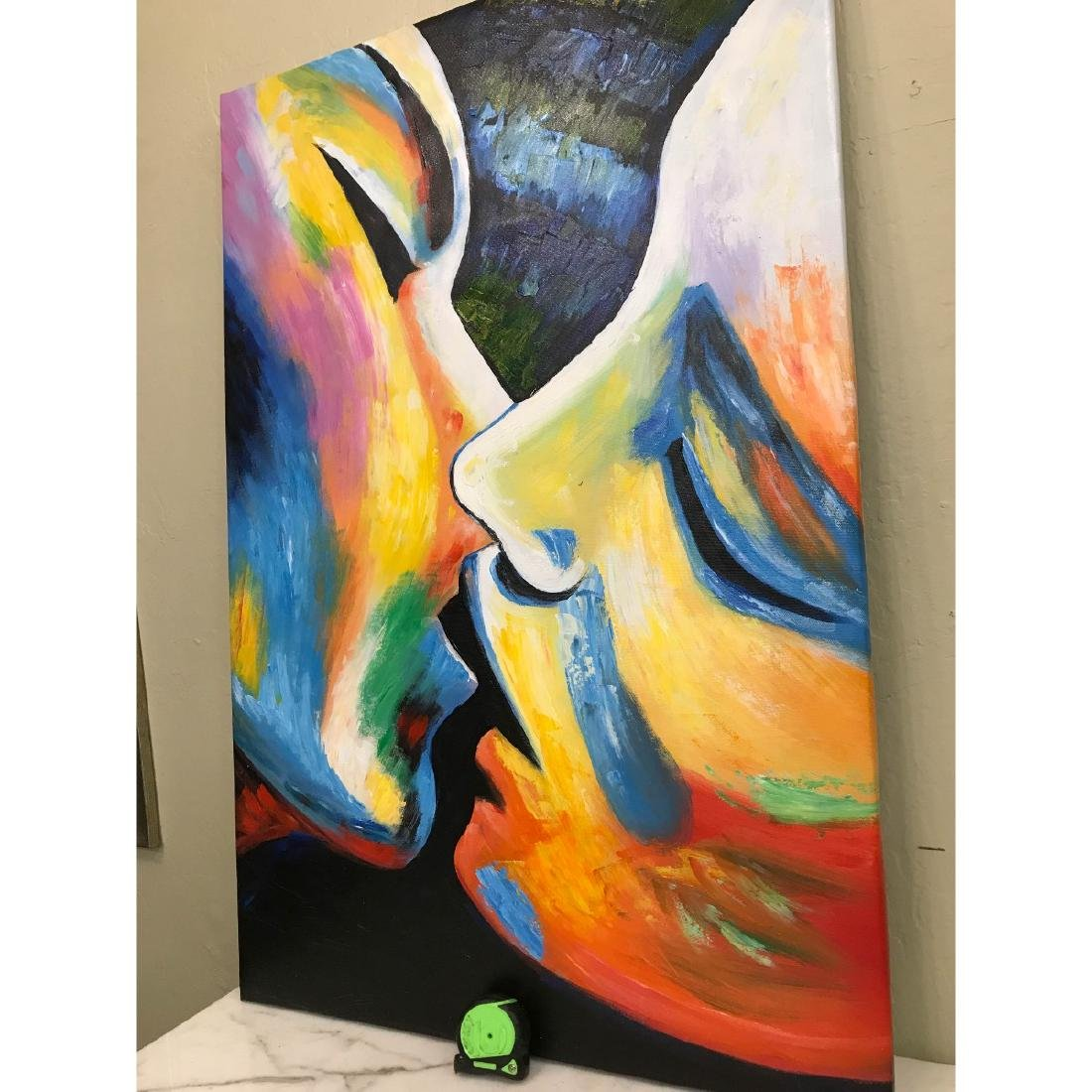Oil on Canvas of Kissing Couple - 7
