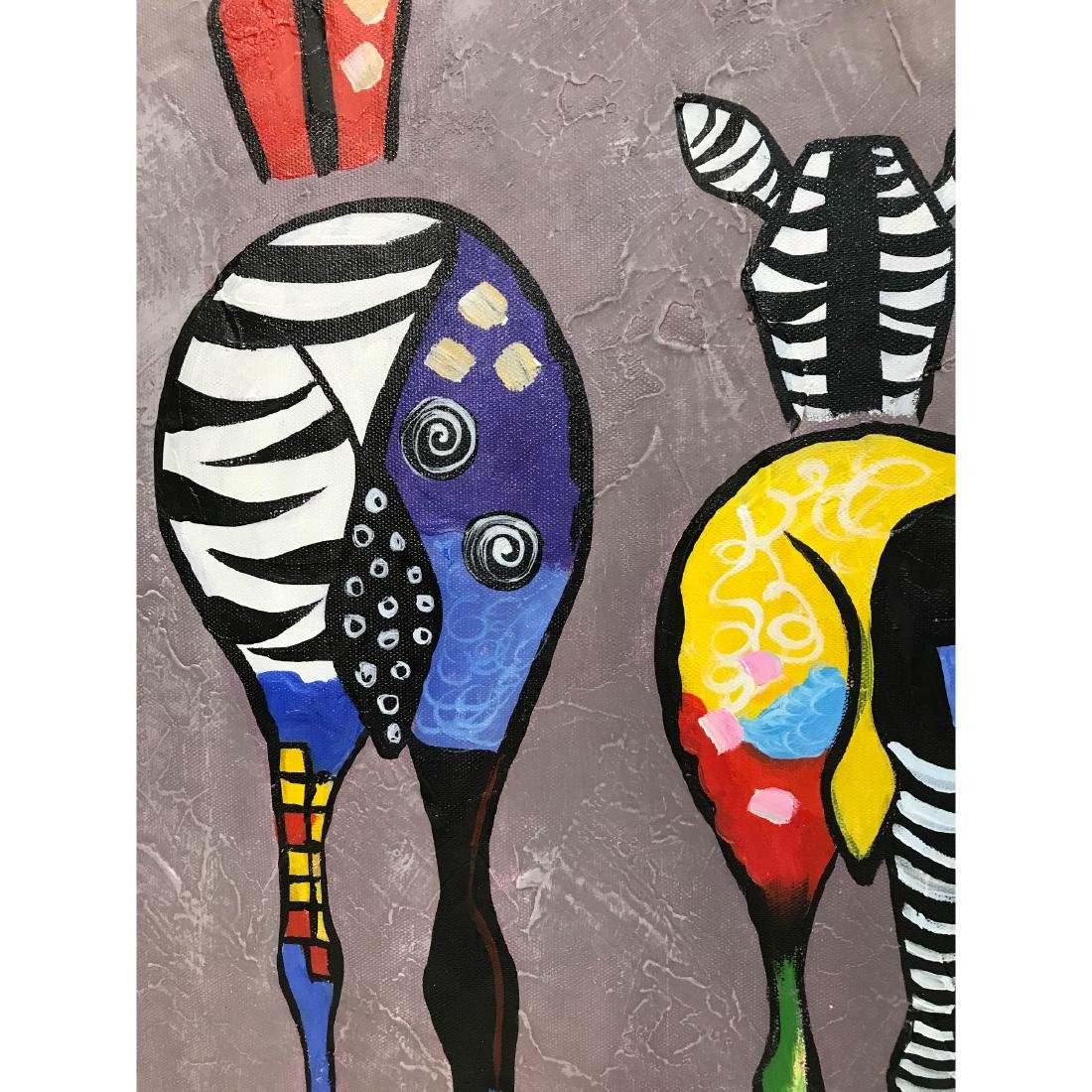 Oil on Canvas of Group of Zebras - 10