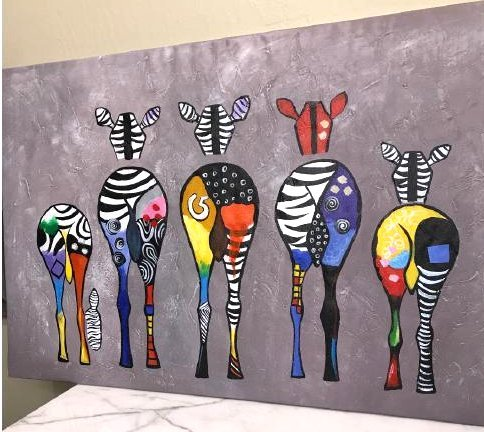 Oil on Canvas of Group of Zebras