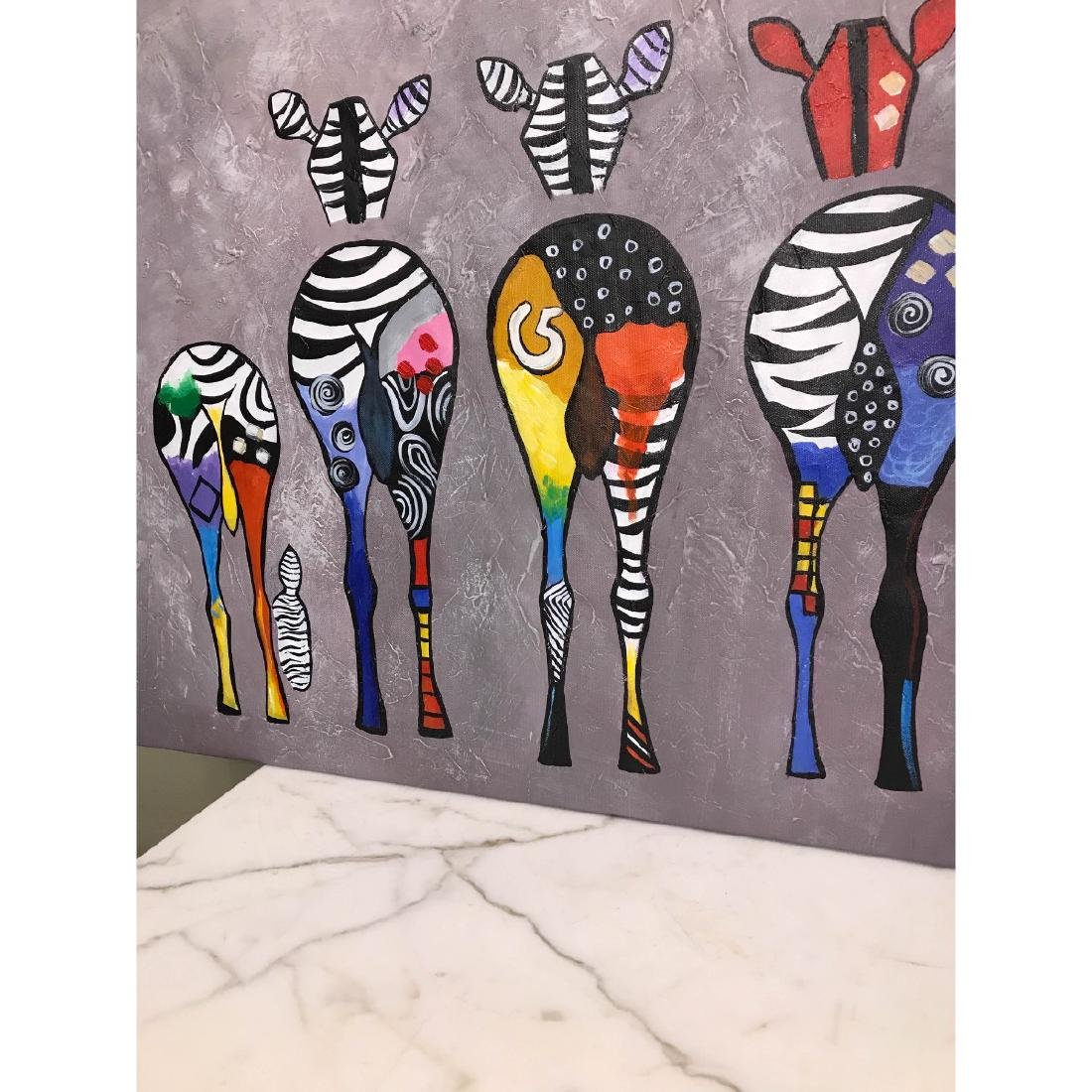 Oil on Canvas of Group of Zebras - 2
