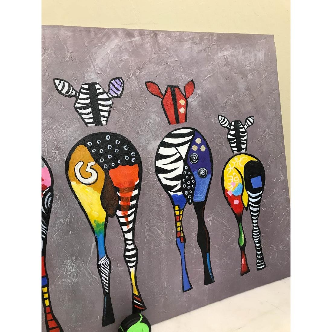 Oil on Canvas of Group of Zebras - 4