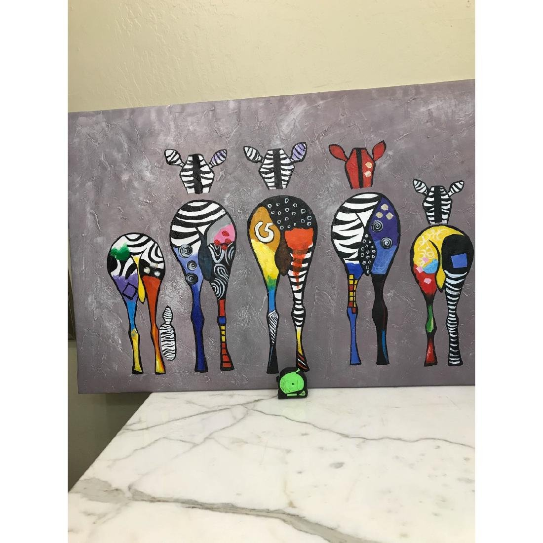 Oil on Canvas of Group of Zebras - 5