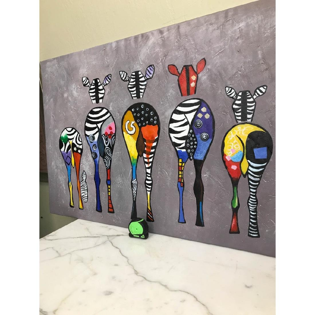 Oil on Canvas of Group of Zebras - 6