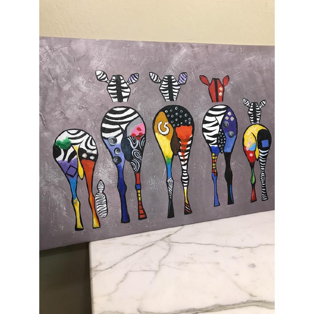 Oil on Canvas of Group of Zebras - 8