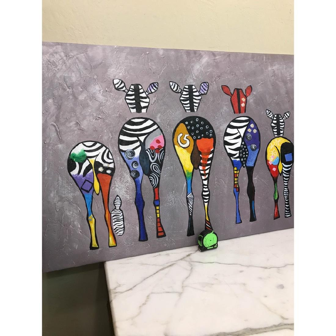 Oil on Canvas of Group of Zebras - 9