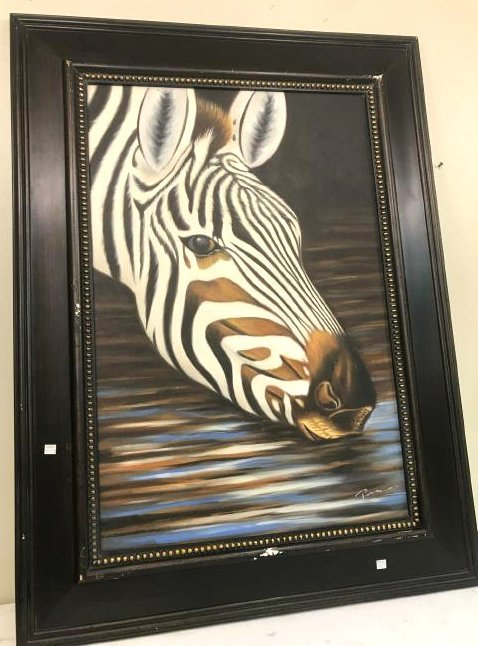 Oil on Canvas of Zebra Drinking Water, Signed