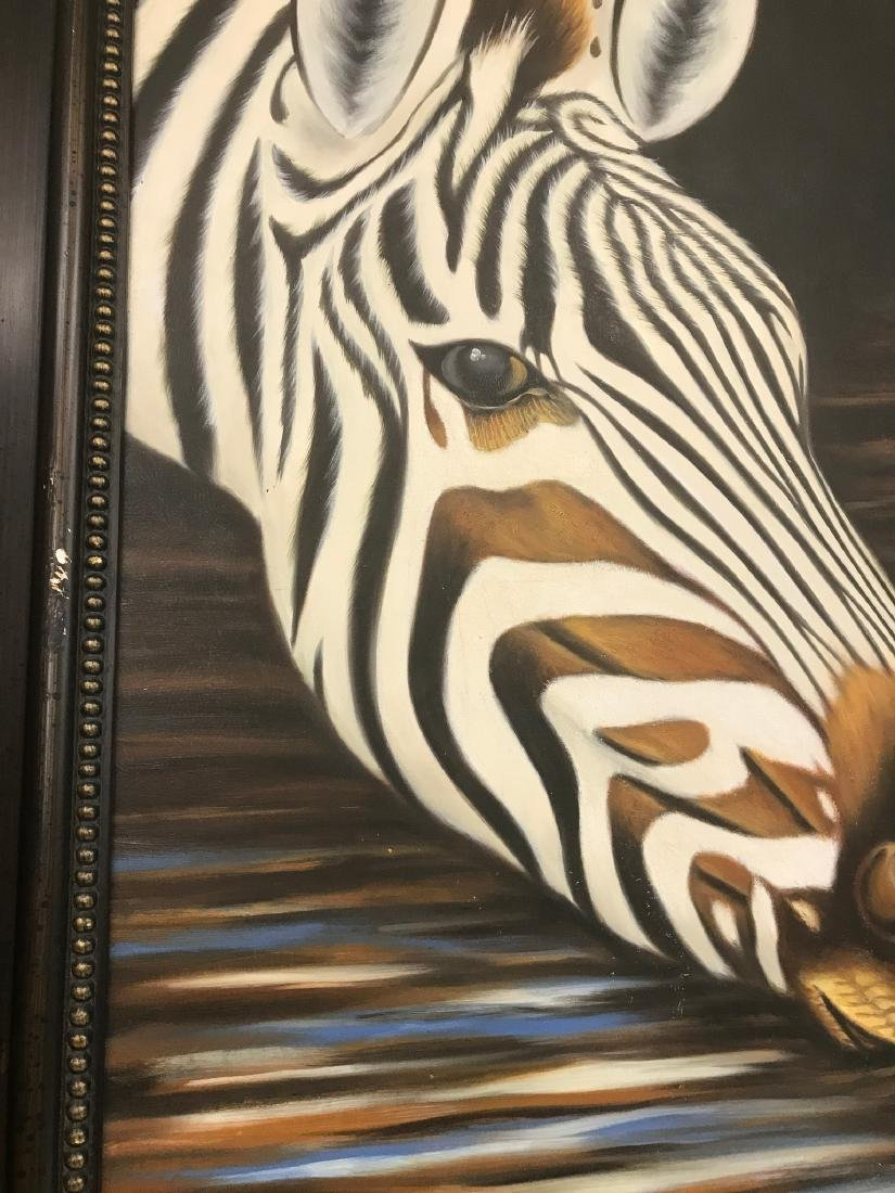Oil on Canvas of Zebra Drinking Water, Signed - 2