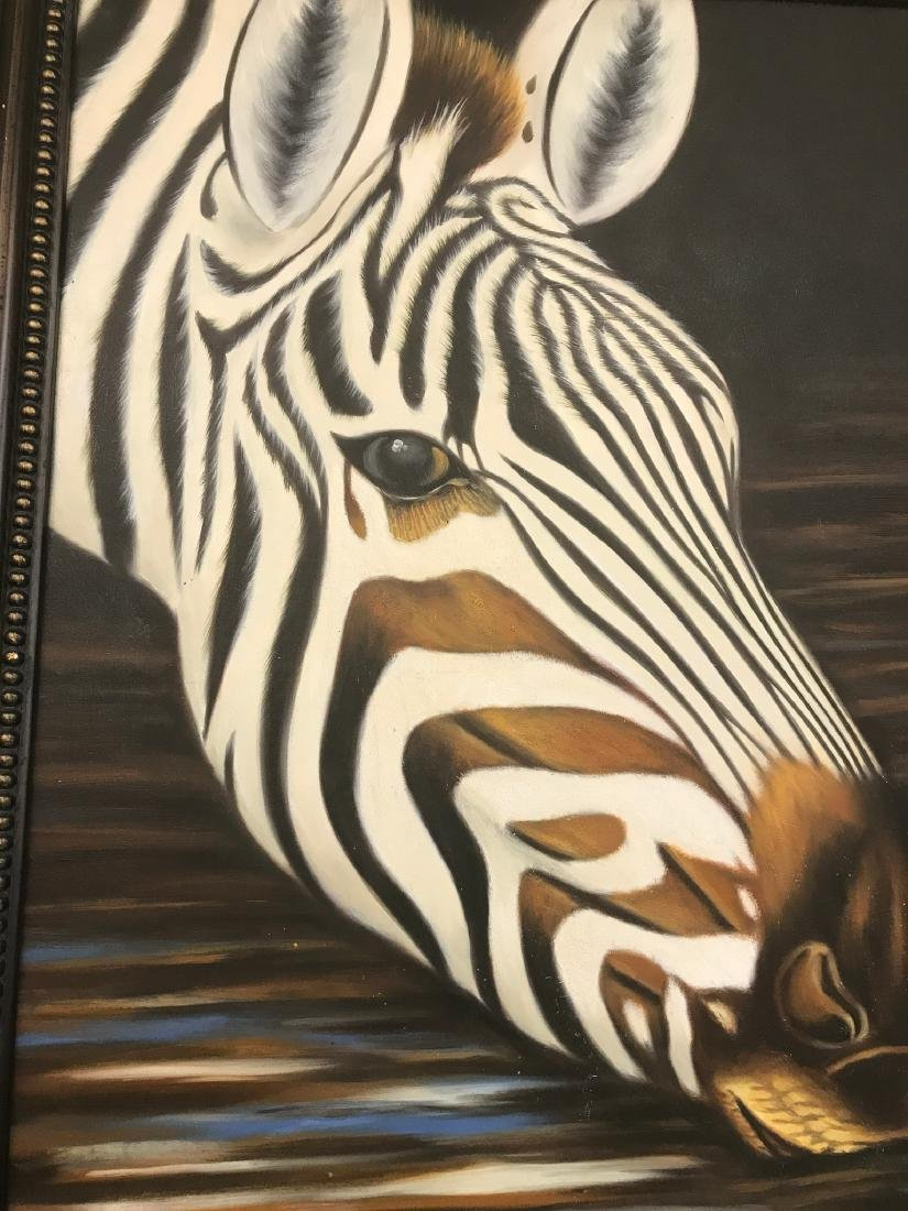 Oil on Canvas of Zebra Drinking Water, Signed - 3