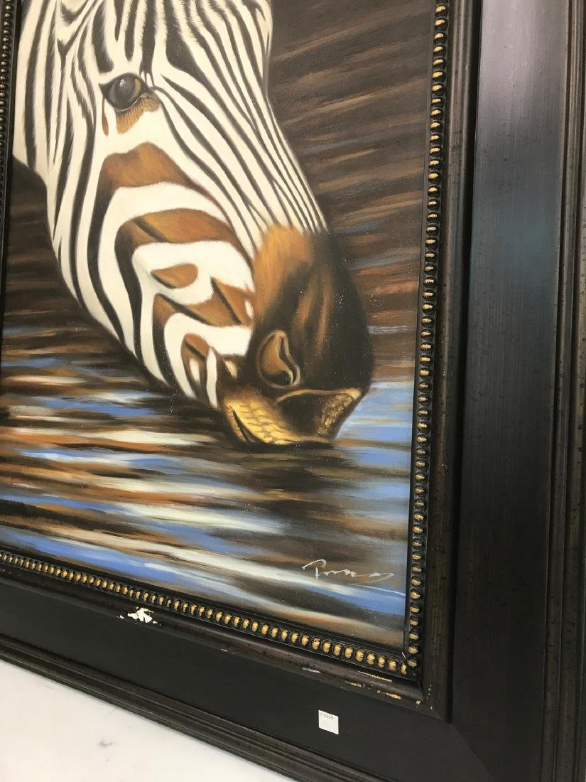 Oil on Canvas of Zebra Drinking Water, Signed - 4