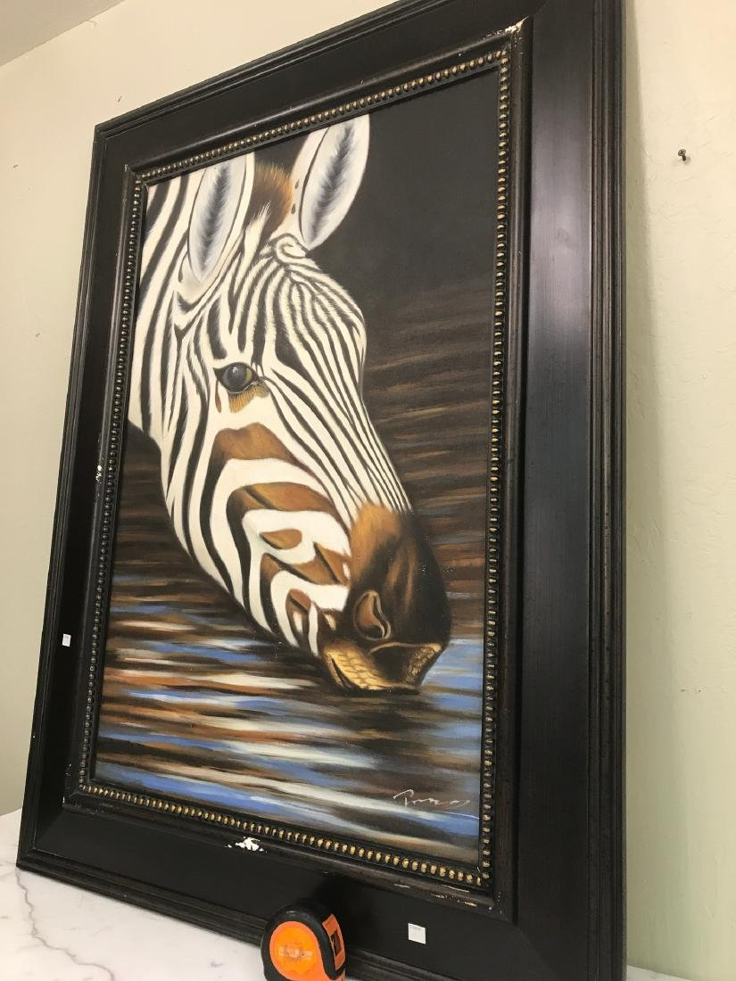 Oil on Canvas of Zebra Drinking Water, Signed - 6
