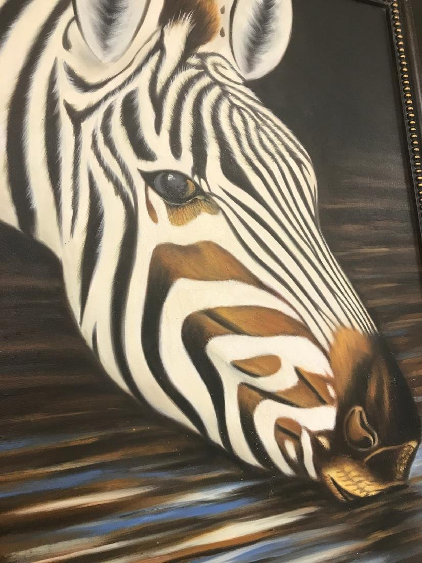 Oil on Canvas of Zebra Drinking Water, Signed - 8