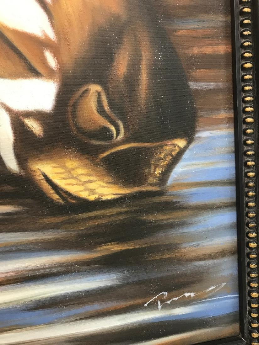 Oil on Canvas of Zebra Drinking Water, Signed - 9