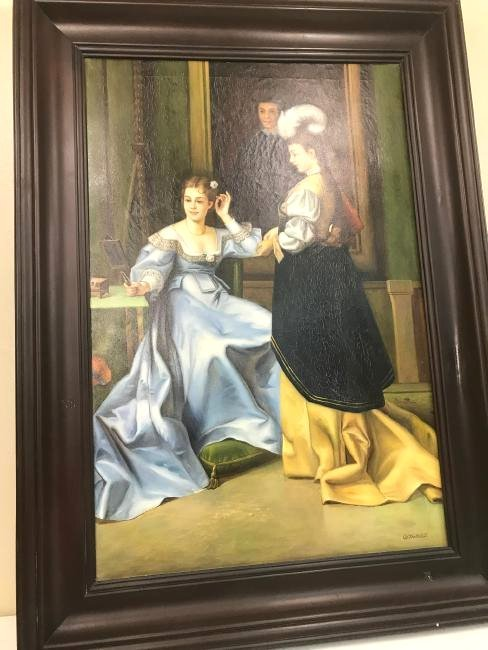 Oil on Canvas of Scene w/ Two Women, Signed