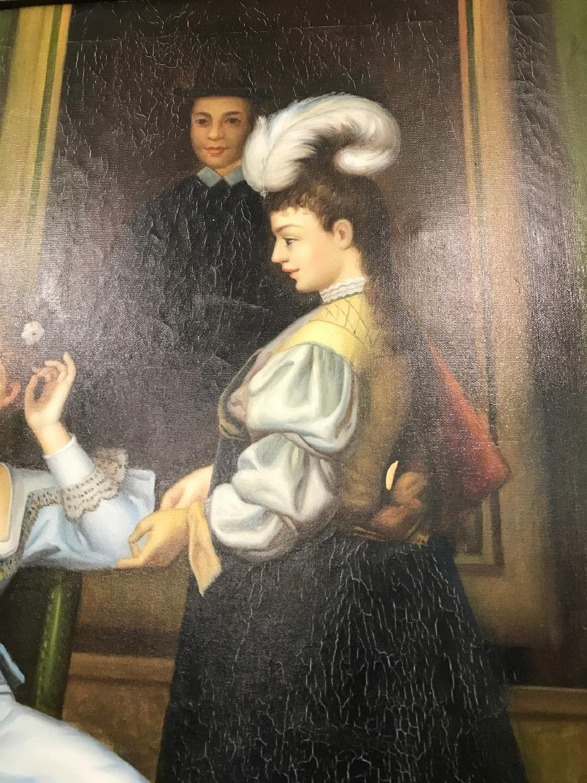 Oil on Canvas of Scene w/ Two Women, Signed - 5