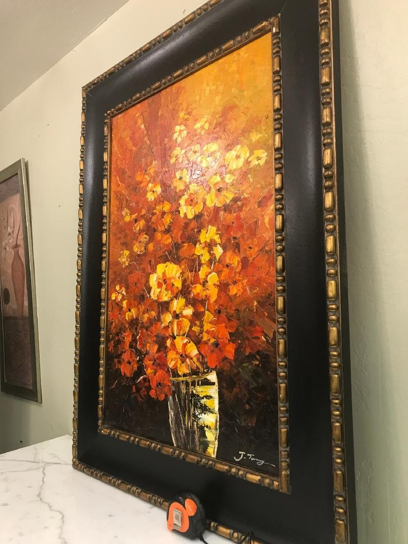 Abstract Oil on Canvas of Bouquet of Flowers - 10