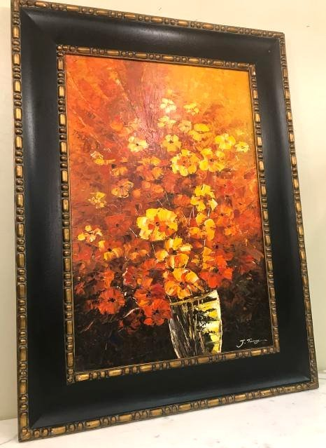 Abstract Oil on Canvas of Bouquet of Flowers