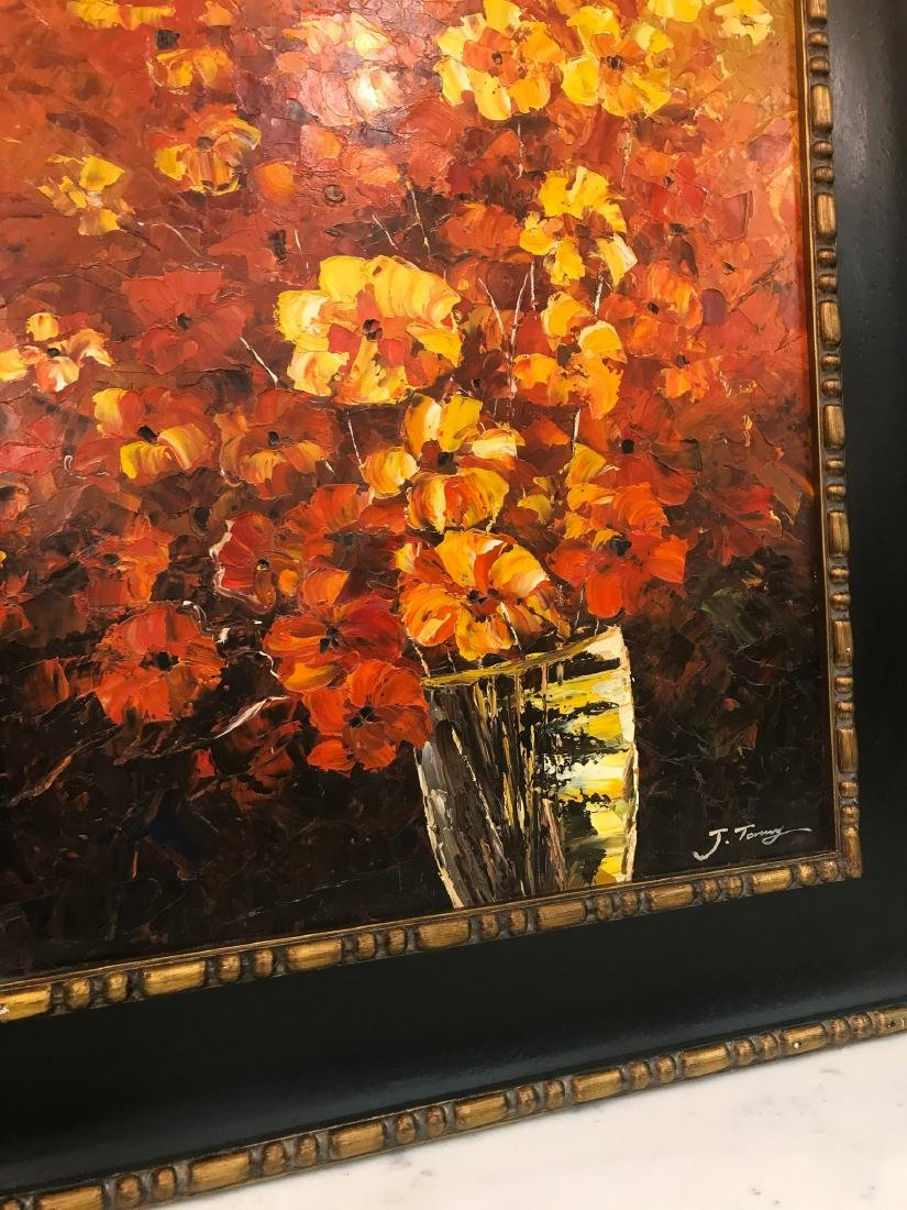 Abstract Oil on Canvas of Bouquet of Flowers - 2