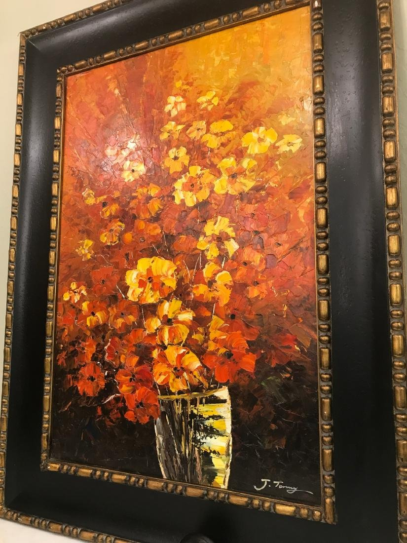 Abstract Oil on Canvas of Bouquet of Flowers - 3