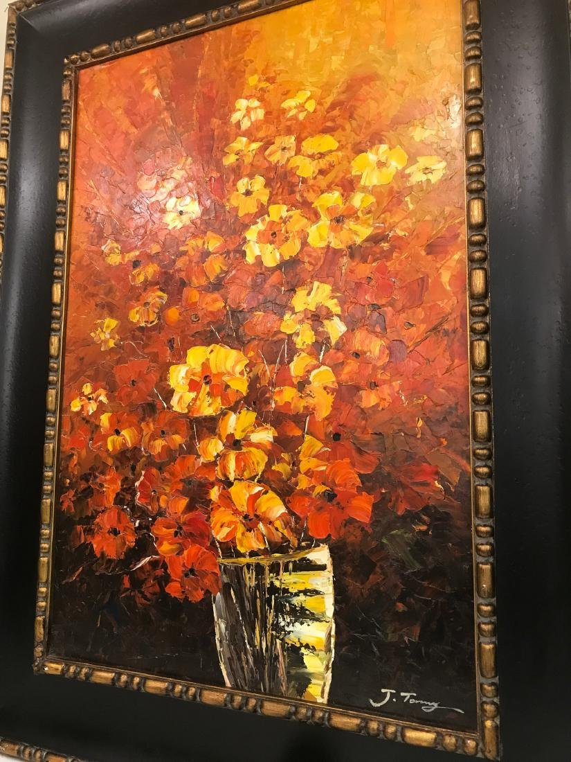 Abstract Oil on Canvas of Bouquet of Flowers - 5